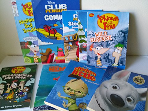 Disney Series Mix: Club Penguin Books: The Great Puffle Switch; Stowaway; Club Penguin Comics Volume 1: Phineas and Ferb Joke Book; Wild Surprise; Nothing but Trouble and the Chronicles of Meap (Book Sets for Kids : Grade 1- 3)