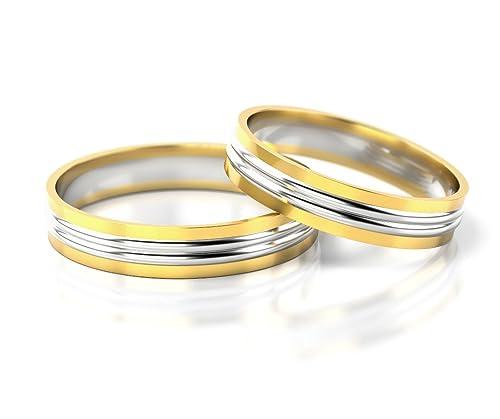 Anillos de matrimonio en oro blanco y amarillo