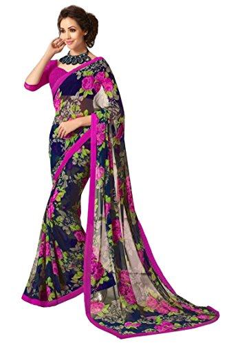Jaanvi fashion Blue Printed Chiffon SareeWith Unstitched ()