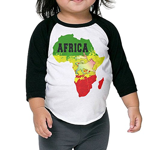 Africa Map And Rasta Lion Unisex Kids 3/4 Sleeves Raglan T Shirts Child Youth Fit Sports Uniforms by HFJEW