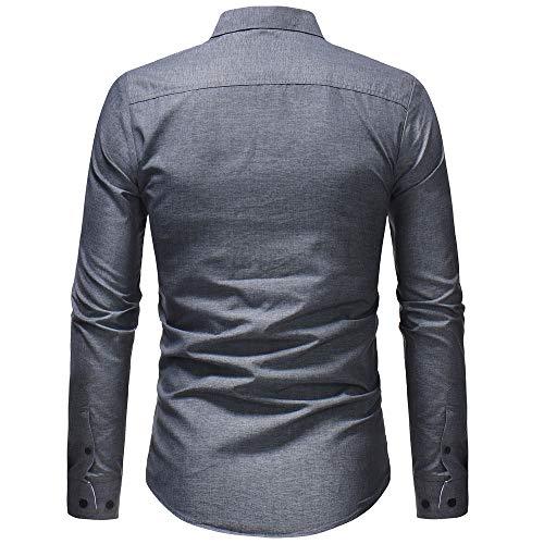 Formale Casual Da Camicie Maniche Tops A Camicetta Grigio Vestibilità Con Elecenty Fit Slim Solido Uomo Camicia Lunghe Autunno dXEwf5qP