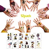 Halloween Temporary Tattoo for Kids - 12 Sheets Cute Designs Halloween Tattoos Stickers