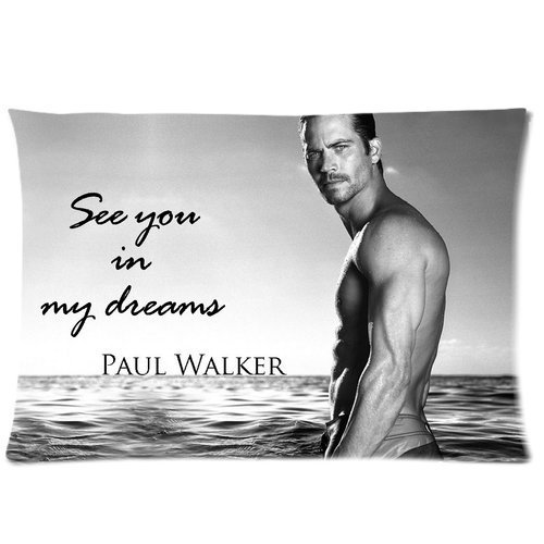 """1 X Hoomin Paul Walker Custom Zippered Rectangle Pillow Case Pillowcases Size:16""""x 24"""" (Two Sides)"""