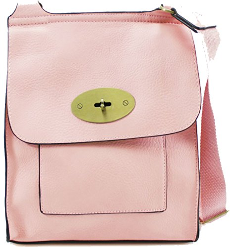 YDezire? Ladies Faux Leather Mini Cross Body Messenger Bag Women Shoulder Satchel Handbag Pink