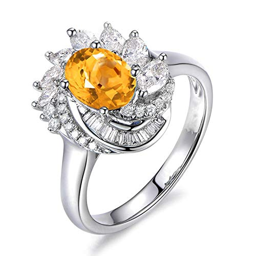 Adisaer Women Valentine's Present 925 Sterling Silver Plated Rings LW 8X6Mm Flower Shape Oval Yellow November Birthstone Cubic Zirconia Ring Size 7