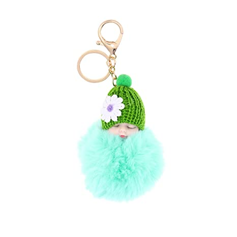 Amazon.com: Vosarea Plush Ball Keychain Baby Doll Key Ring ...