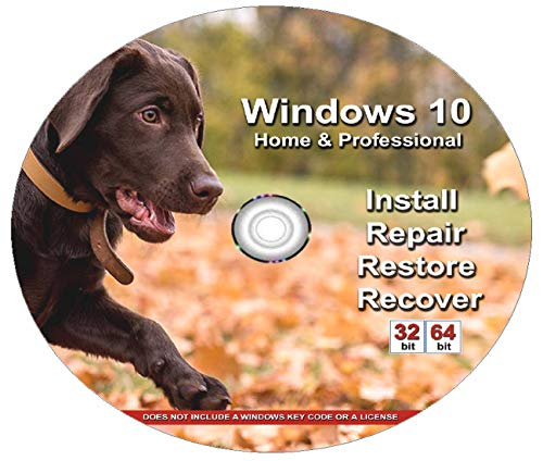 Price comparison product image Windows 10 Home and Professional- 32 / 64 Bit DVD. Recover,  Repair,  Restore or Re-install Windows to Factory Fresh - Custom Design - Chocolate Labrador