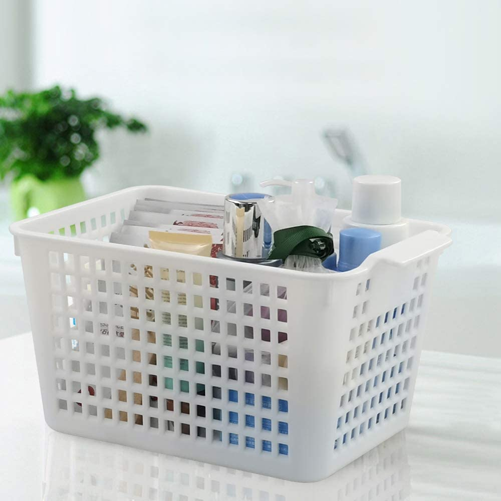 6 Packs Vcansay White and Grey Higher Plastic Storage Baskets