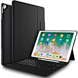 """IVSO Case with Keyboard for ipad pro 12.9-One-Piece Wireless Keyboard Stand Case with Pencil Slot for Apple ipad pro 12.9"""" 1st Gen 2015 / ipad pro 12.9"""" 2nd Gen 2017 (Not fit for 2018 Version)(Black)"""