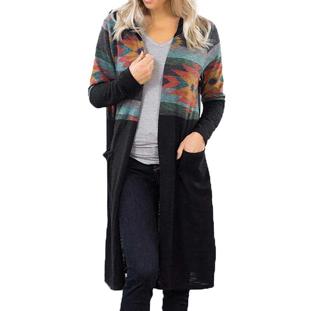 Women Geometric Print Coat,Mosunx Ladies Long Sleeve Hooded Cardigan Coats (XL, Black)