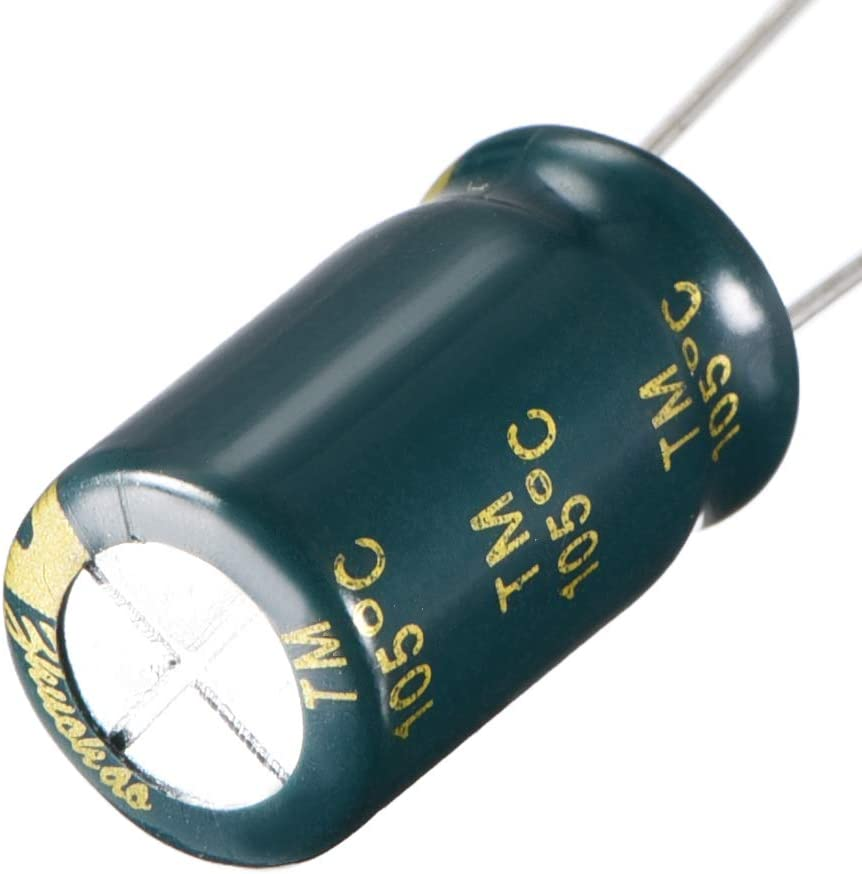 uxcell Aluminum Radial Electrolytic Capacitor Low ESR Green with 1000UF 25V 105 Celsius Life 3000H 10 x 17 mm High Ripple Current,Low Impedance 10pcs
