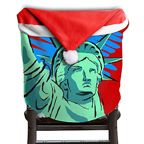 Christmas Seat Cover All Over 3D Printed Statue Of Liberty Green Cute Santa Clause Red Chair Hat 50x60CM - Village Liberty Stores