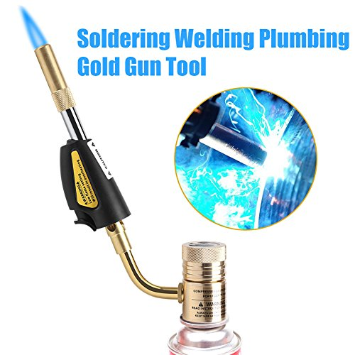 Gas Self Ignition Turbo Torch Brazing Soldering Propane Welding Plumbing Gun Tool, Adjustable Temperature & Flame