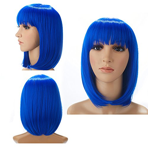 H&N Hair Colorful Blue Costume Wigs for Women 13