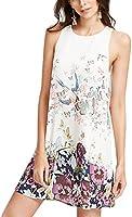Zehui Vestido sin mangas de moda impresión con flores y mariposas, con tipo de natural con Pretty impresiones falda de cuello redondo vestido de playa de regalo