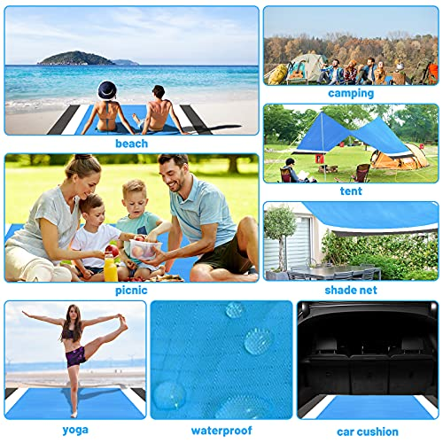Motiloo Beach Blanket, Extra Large Sand Free Beach Blanket-10ft x 9ft Adults Beach Mat with 4 Stakes & 4 Corner Pockets