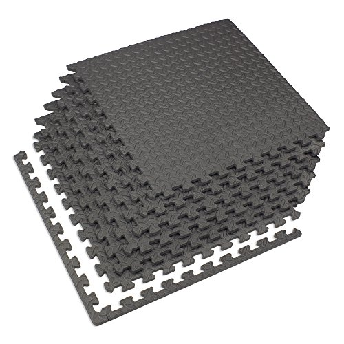 "Velotas Charcoal Gray, 48 sq' (12 Tiles) Charcoal Gray 1/2"" Thick Interlocking Foam Fitness Mat"