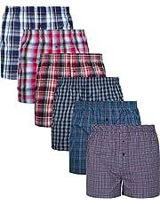 MC.TAM® Basic American Boxershorts Herren 6er / 12er Pack 100% Baumwolle Gewebte Unterhosen Männer