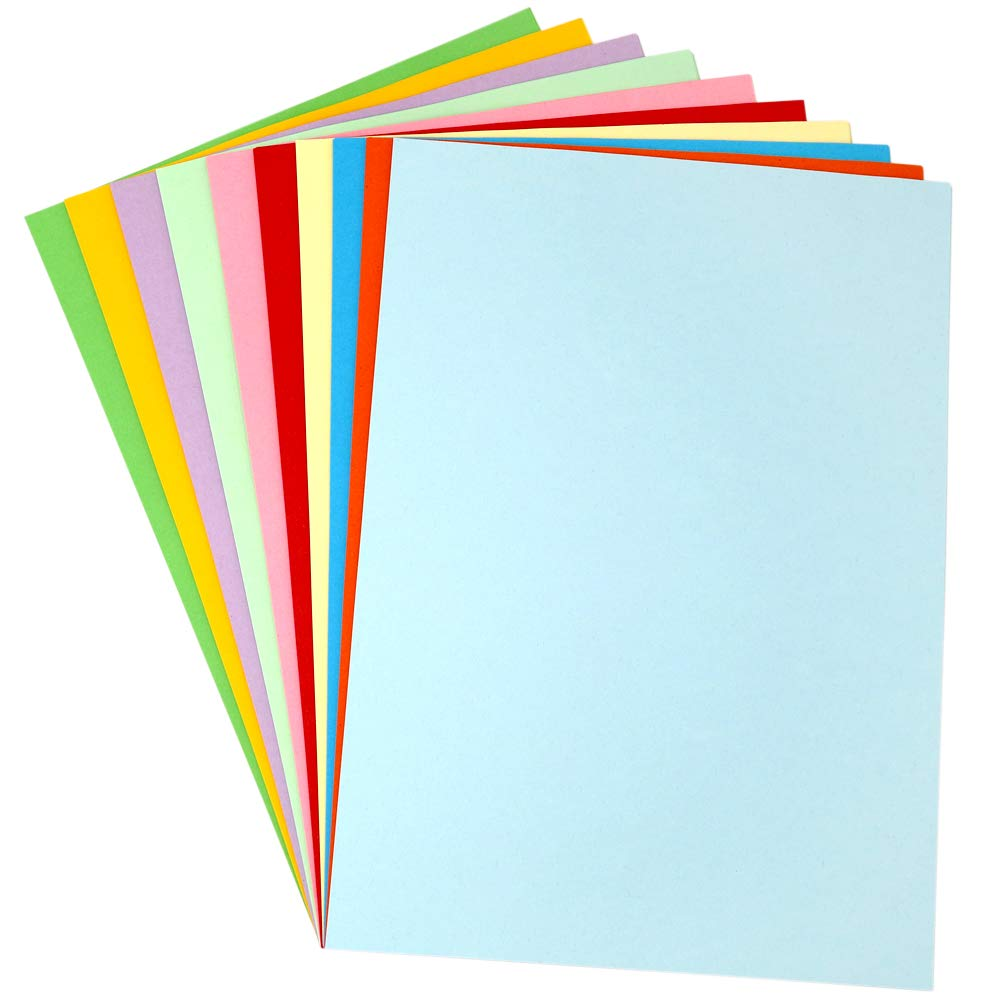 A+Selected 100 Sheets 230 GSM Thick Coloured Card A4 Bright Multi Coloured Paper