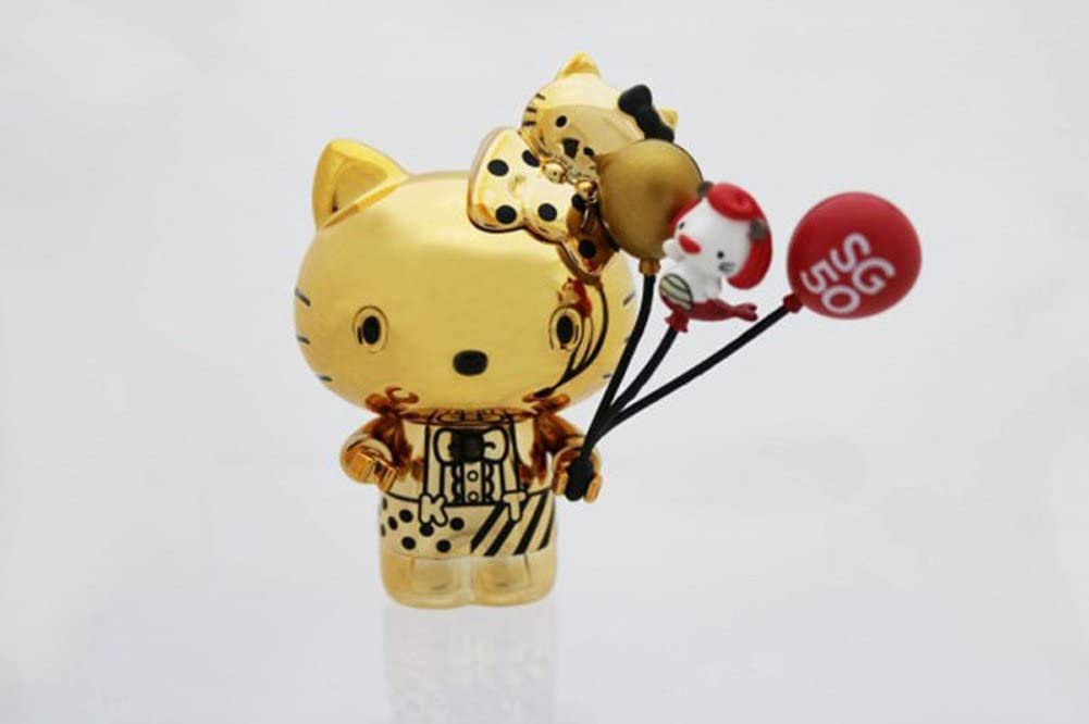 Hello Kitty Go Around Singapore Collectible Figurine - Gold Electroplated Edition