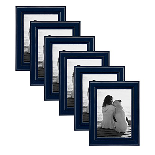 DesignOvation Kieva Solid Wood Picture Frames, Distressed Navy Blue 5x7, Pack of 6 for $<!--$34.99-->