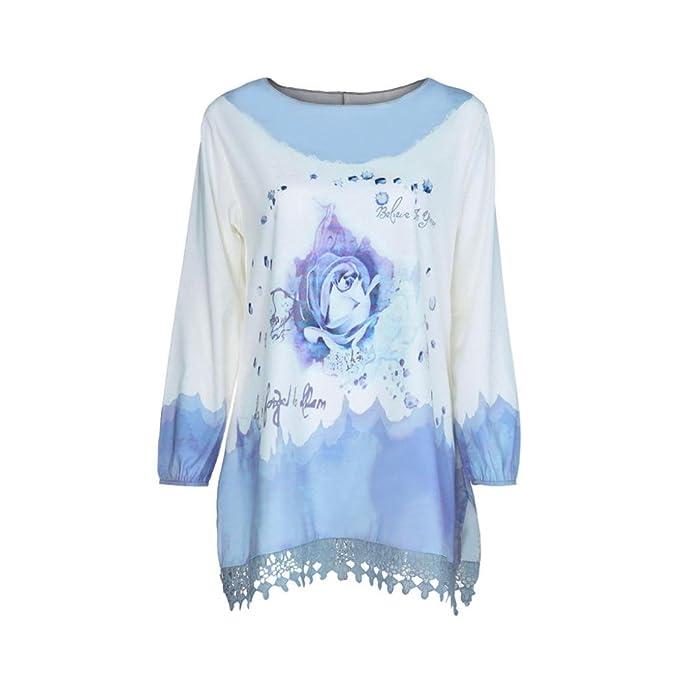 DEELIN Moda De Las Mujeres Nuevo Gran TamañO Impreso Camisa De Manga Larga Pullover Top (