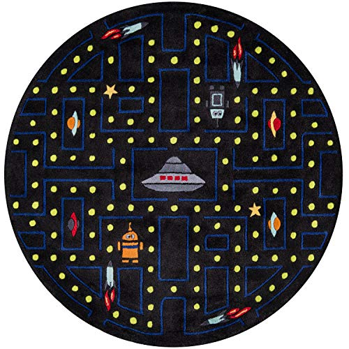 Momeni Rugs LMOJULMJ14ABL500R Lil' Mo Whimsy Collection, Kids Themed Hand Carved & Tufted Area Rug, 5' Round, Arcade Black