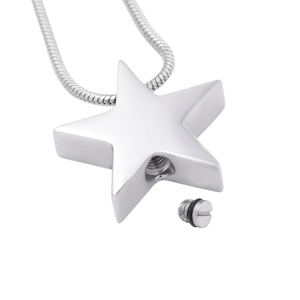 Metal Color: Necklace Box Funnel Davitu IJD8453 Cremation Jewelry in Pendant Necklaces,Wholesale Elegant Design Star Stainless Steel Ash Holder Charm for Femal