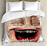 Humor Decor Duvet Cover Set by Ambesonne, Poker Face Guy Meme Laughing Mock Person Smug Stupid Odd Post Forum Graphic, 3 Piece Bedding Set with Pillow Shams, Queen / Full, Peach Pearl