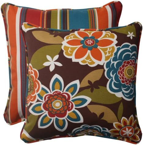 Pillow Perfect Indoor Outdoor Annie Westport Reversible Corded Throw Pillow, 18.5-Inch, Chocolate, Set of 2