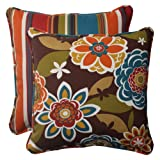 Pillow Perfect Indoor/Outdoor Annie Westport Reversible Corded Throw Pillow, 18.5-Inch, Chocolate,...