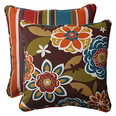 Pillow Perfect Indoor/Outdoor Annie Westport Reversible Corded Throw Pillow, 18.5-Inch, Chocolate, Set of 2 - Includes two (2) outdoor pillows, resists weather and fading in sunlight; Suitable for indoor and outdoor use Plush Fill - 100-percent polyester fiber filling Edges of outdoor pillows are trimmed with matching fabric and cord to sit perfectly on your outdoor patio furniture - living-room-soft-furnishings, living-room, decorative-pillows - 51WQf0sDrKL. SS400  -