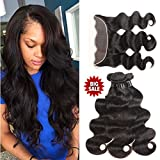 Cheap 8A Brazilian Virgin Hair Body Wave with Frontal Body Wave Human Hair with Closure Brazilian Body Wave Bundles with Frontal Closure (14 16 18+12, Natural Color)