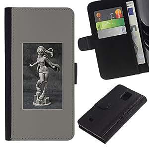 KLONGSHOP / Tirón de la caja Cartera de cuero con ranuras para tarjetas - Marble Poster Girl Woman - Samsung Galaxy Note 4 SM-N910