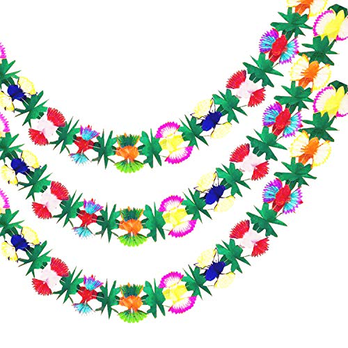 Long Tropical Multicolor Tissue Flower Banner Garland for Hawaiian Themed Party Moana Party Luau Supplies Decorations (3pack)