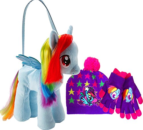 My Little Pony Rainbow Dash Plush Purse Bag Toy with Beanie and Matching Gloves Your Perfect Holiday Gift Set, Birthday Gift, Get Well Soon Plush
