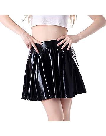 JERFER Moda para Mujer Cuero Acampanado Plisado A-Line Circle Falda de Baile de Traje