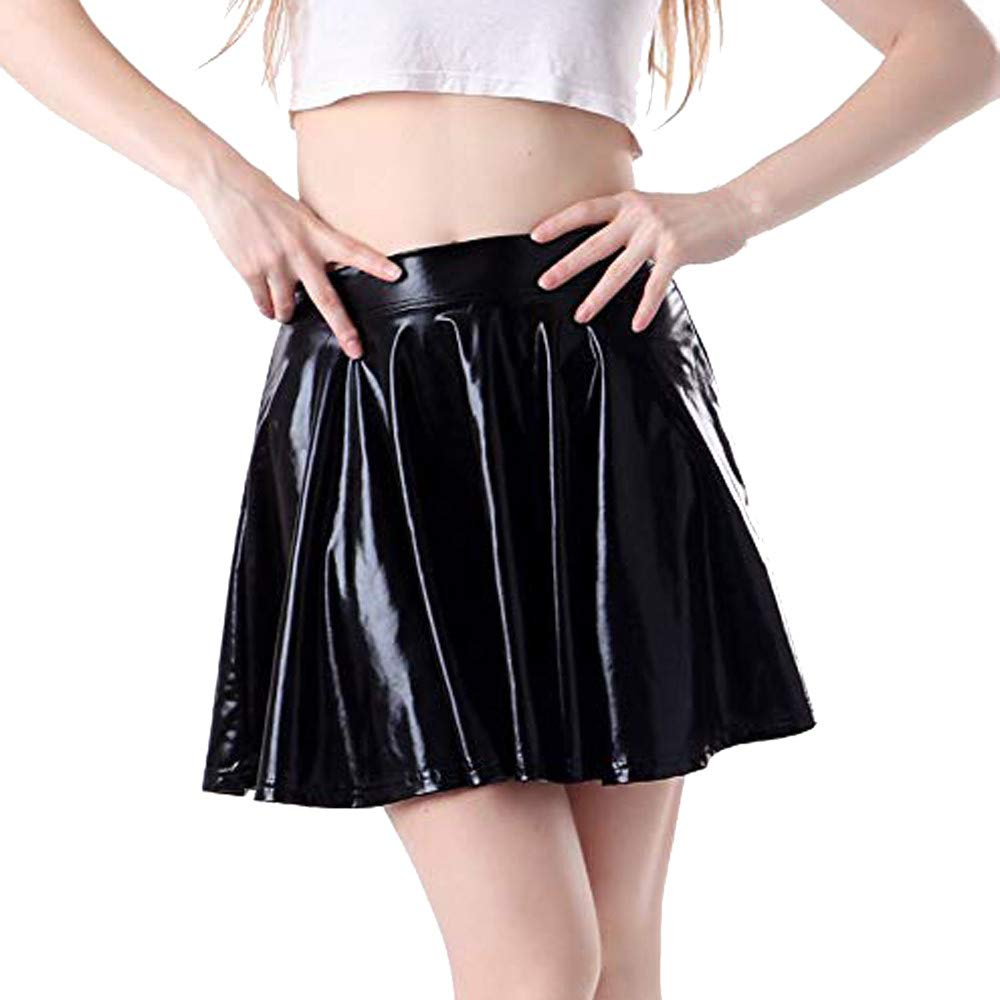 Womens A-Line Skirts Fashion Solid Bright Leather Flared Pleated Circle Costume Skater Dance Skirt (XL, Black)
