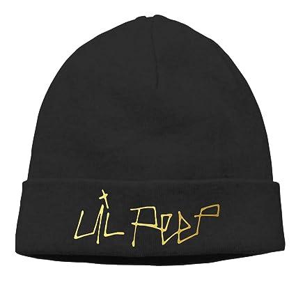 b029f19930f CarterH Lil Peep Logo Cuffed Plain Skull Knit Hat Cap Snowboard Hat Unisex  Black