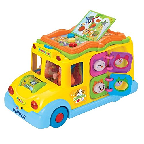 Learning Interactive School Bus Toy w/ Flashing Lights & Sounds