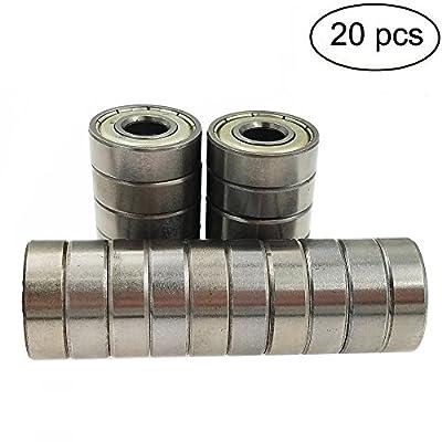 (pack of 20) 608 ZZ Skateboard Bearings, Sackorange 608zz Double Shielded,8x22x7 Miniature Ball Bearings