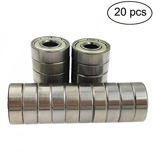 (pack of 20) 608 ZZ Skateboard Bearings, Sackorange 608zz Double Shielded,8x22x7 Miniature Ball ()
