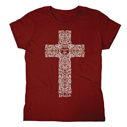 Engraved Cross, Missy Tee, SM, Garnet - Christian Fashion Gifts ()