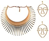 Mrotrida Women's Big African Necklace Indian Style Bending Alloy Big Thorn Statement Collar Choker and Face Earrings Set Gold