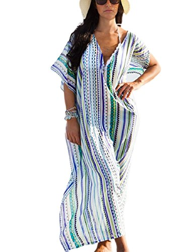Smock Maxi (Bsubseach Women Loose Chiffon Geometric Print V Neck Swimwear Swimsuit Cover Up Kaftan Beach Long Maxi Dress)