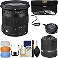 Sigma 17-70mm f/2.8-4 Contemporary DC Macro OS HSM Zoom Lens (for Canon EOS Cameras) with USB Dock + 3 UV/CPL/ND8 Filters + Pouch + Diffusers + Kit