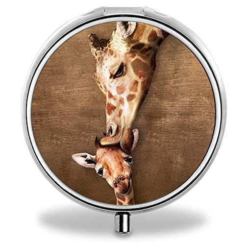 ONSPACE Portable 3 Slots Medicine Box, Round Compartment Unique Design Silver Metal Pill Box for Pocket/Purse/Travel Medicine Case, Small Vitamin Box-Lovely Giraffe