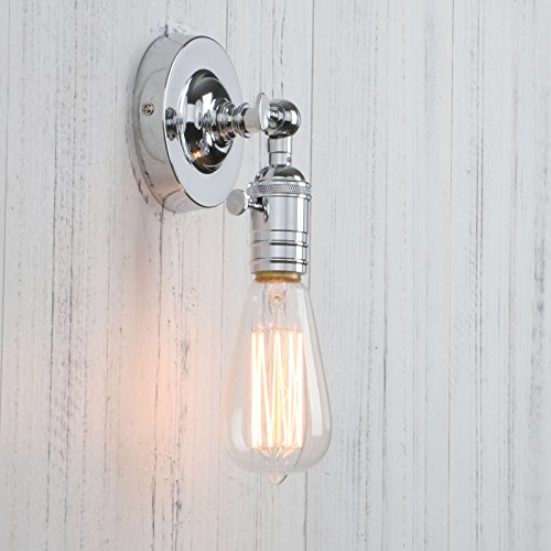 Permo Minimalist Single Socket 1- Light Wall Sconce Lighting with On/Off Switch (Chrome)