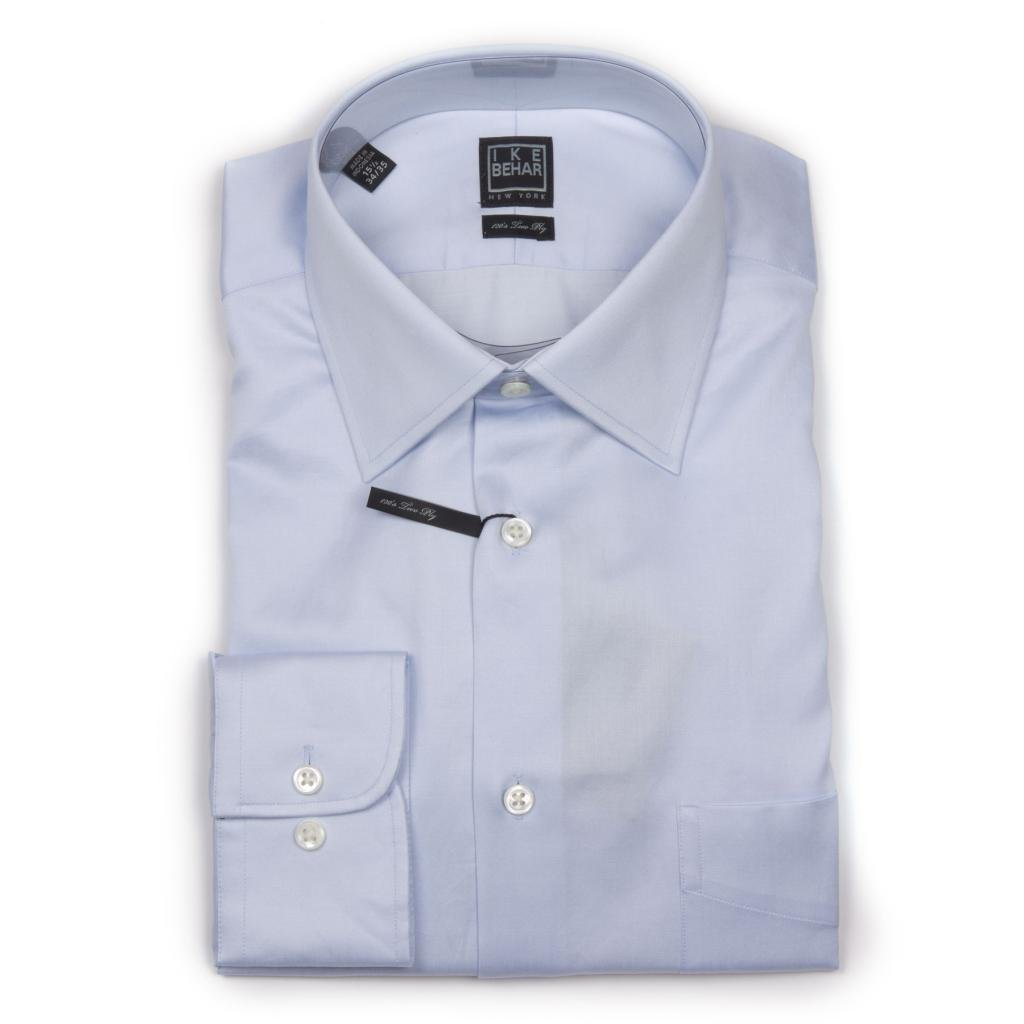 Ike Behar Men's Long Sleeve Ice Blue Solid Dress Shirt-16.5 36/37-Ice Blue by Ike Behar