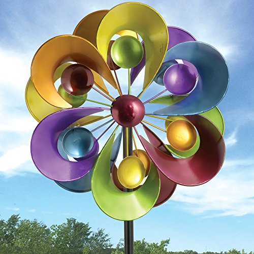 Bits and Pieces - Prismatic Posy Wind Spinner - Decorative Kinetic Wind Mill - Unique Outdoor Lawn and Garden Décor, Lawn Ornament (Windmills Decorative Lawn)